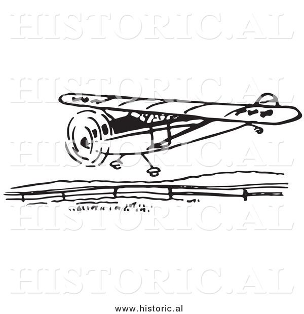 Illustration of a Flying Airplane Getting Ready to Land - Black and White