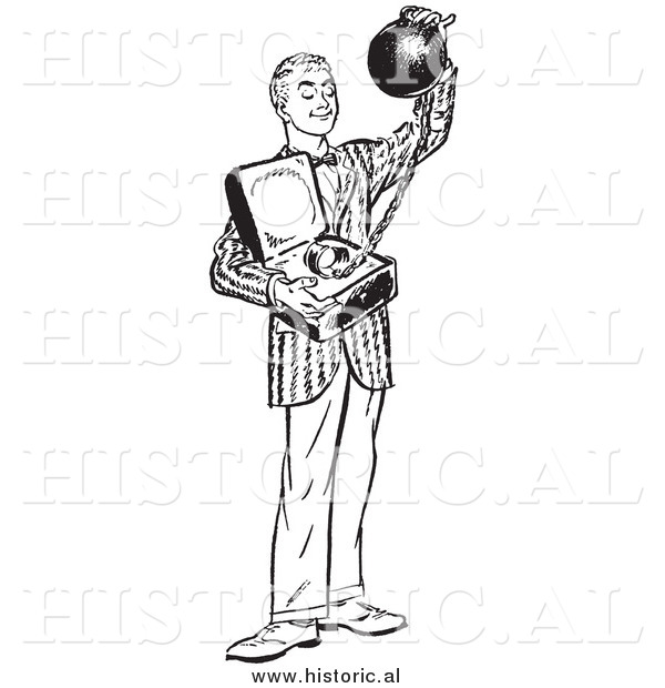 Illustration of a Grinning Young Man Offering a Heavy Ball and Chain Attached to a Commitment