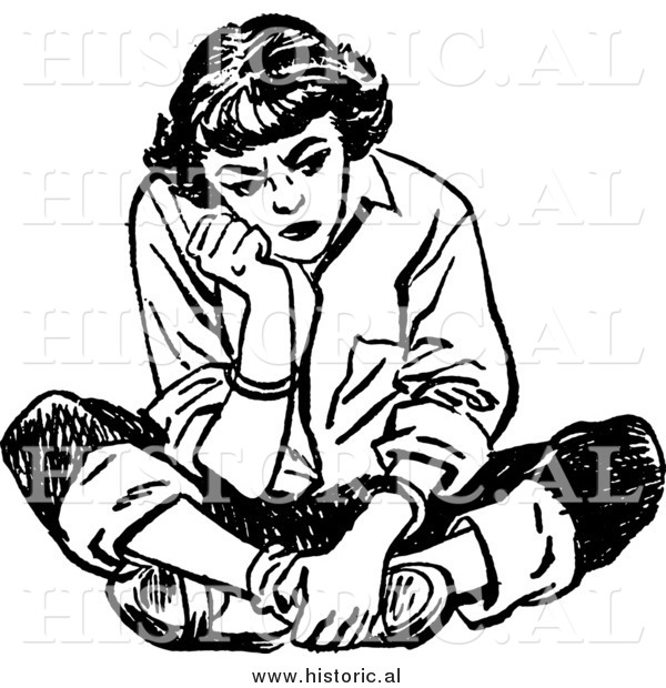Illustration of a Mad Teen Girl Sitting on the Floor with a Bad Attitude