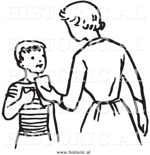 Illustration of a Mom Giving Son Money - Retro Black and White Version