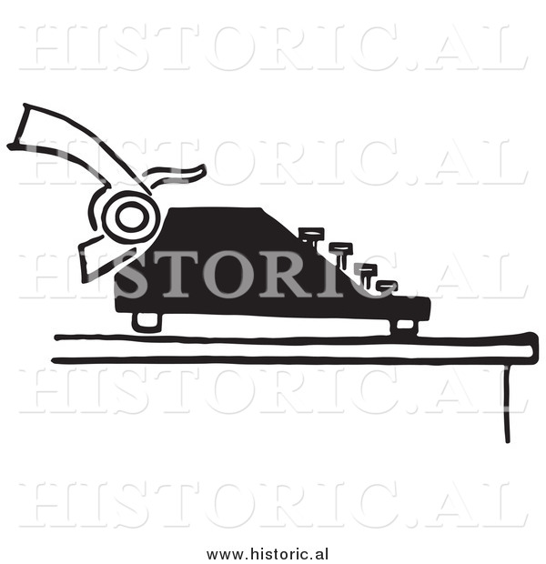 Illustration of a Retro Typewriter with Paper - Black and White
