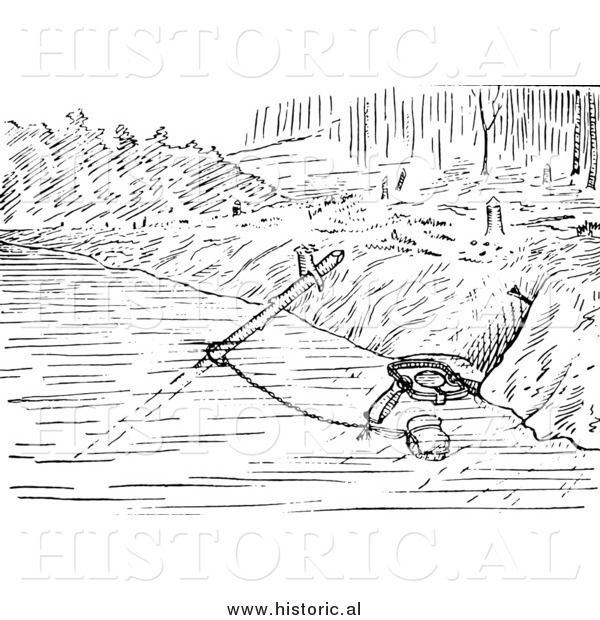 Illustration of a Set Beaver Trap with a Sliding Pole - Black and White