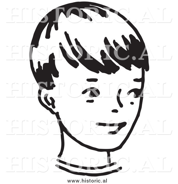 Illustration of a Smiling Little Boy - Retro Black and White Version