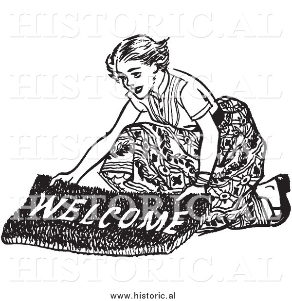 Illustration of a Smiling Young Lady Laying down a Welcome Mat - Black and White