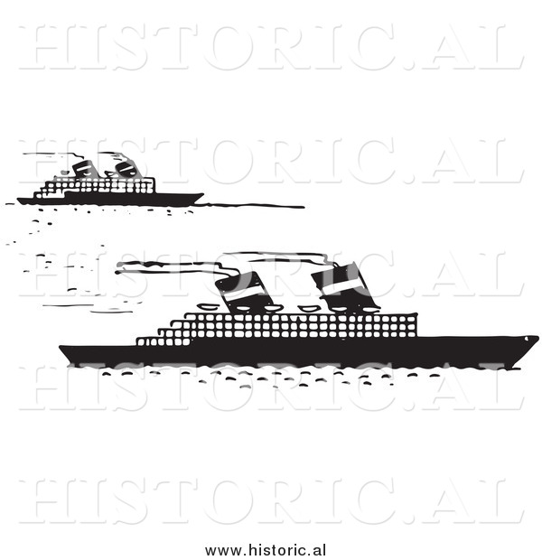 Illustration of a Steamboats Moving Forward - Black and White