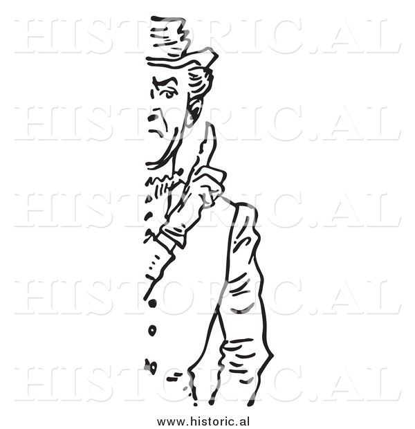 Illustration of a Stern Man Holding up a Finger (1/2 Cut Off) - Black and White