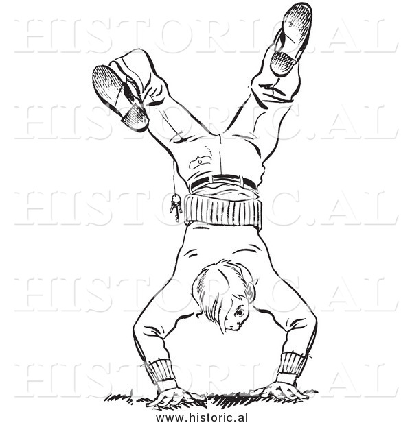 Illustration of a Teen Boy Hand Standing - Black and White