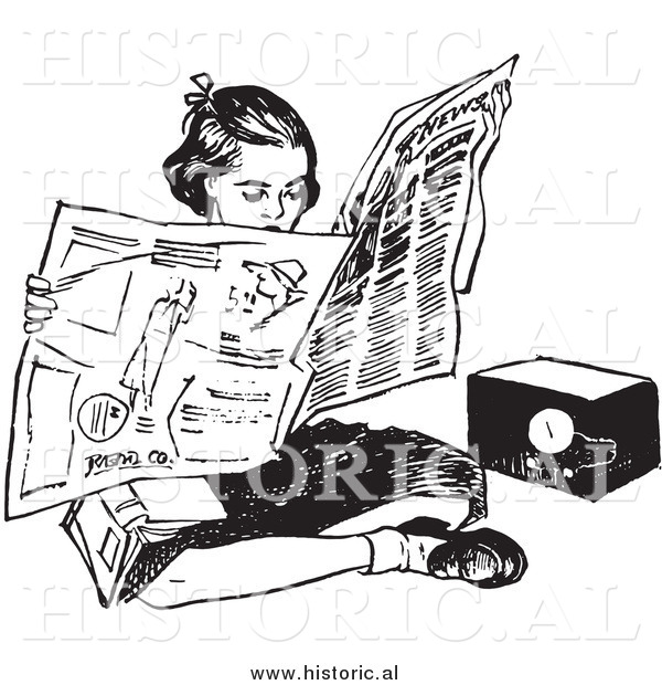 Illustration of a Teen Girl Reading Newspaper While Sitting on Floor Beside Radio