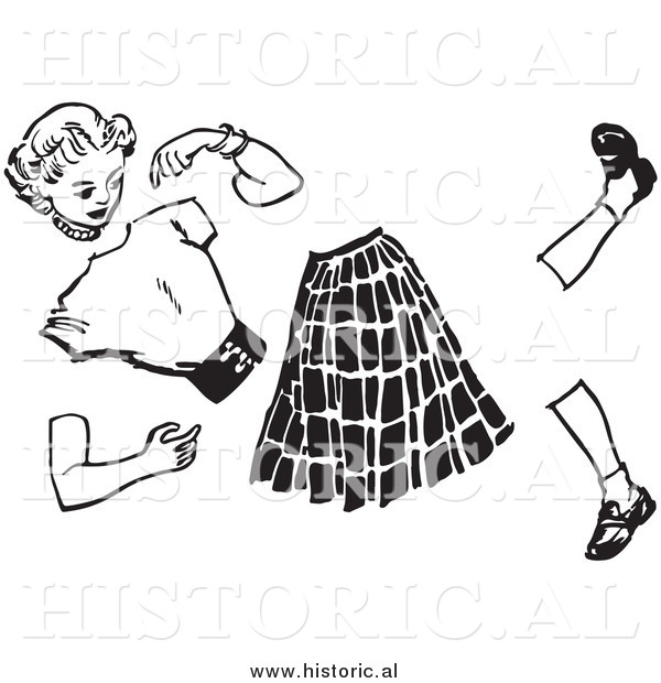 Illustration of a Teenage Girl Manikin Split Apart - Black and White