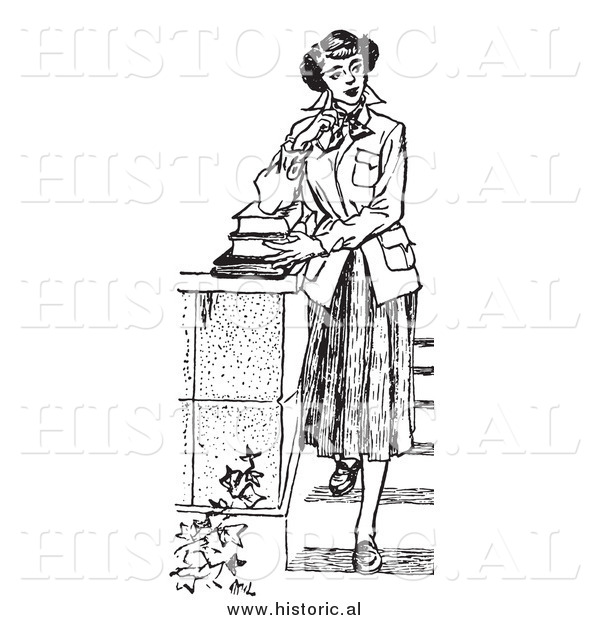 Illustration of a Young Girl Posing with Books on Steps - Black and White