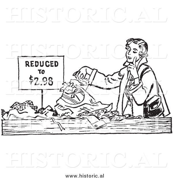 Illustration of a Young Lady Looking Through Pile of Clothes on Sale