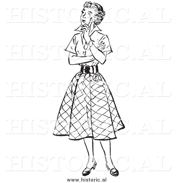 Illustration of a Young Lady Thinking - Black and White