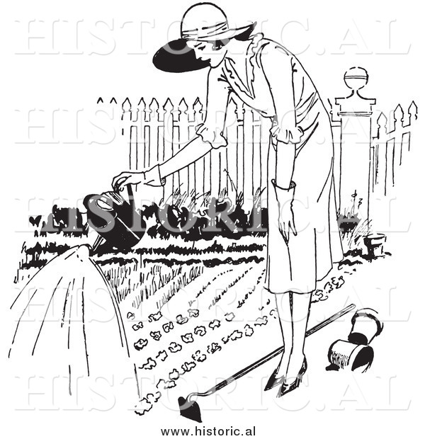 Illustration of a Young Lady Watering a Garden - Black and White