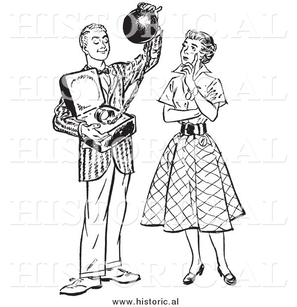 Illustration of a Young Man Offering His Girlfriend Commitment Attached to a Heavy Weight - Black and White Retro Concept