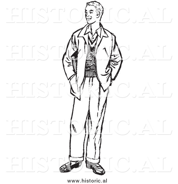 Illustration of a Young Man Standing with His Hands in Jacket Pockets - Black and White