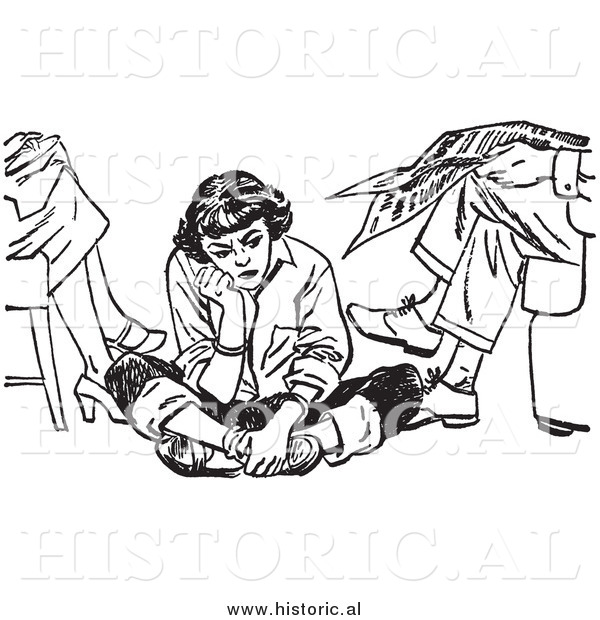 Illustration of an Angry Teen Girl Pouting While Sitting on the Floor Beside Her Parents