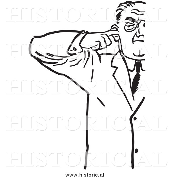 Illustration of an Annoyed Man Plugging His Ear with Finger - Black and White