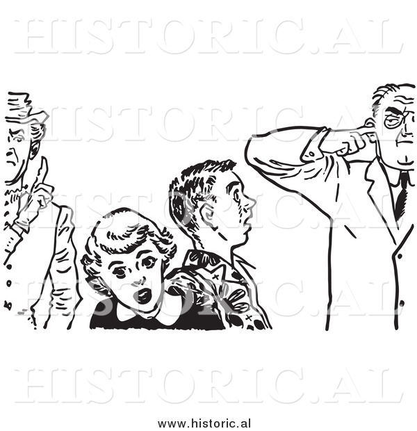Illustration of Teenage Couple with Strict Fathers - Black and White