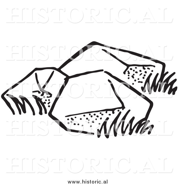 Illustration of Three Big Boulders - Black and White