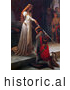 Historical Illustration of a Maiden Holding a Sword over a Man During a Knighting Ceremony, the Accolade by Edmund Blair Leighton by JVPD
