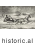 Historical Illustration of a Man and Lady Riding in a Horse Drawn Sleigh on a Wintry Road by JVPD