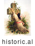 Historical Illustration of a Woman Draped on a Cross Covered with Vines by JVPD