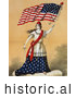 Historical Illustration of a Woman, Portrayed As Lady Liberty, Holding a Sword and American Flag by Picsburg