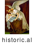 Historical Illustration of an Angel Rocking a Baby Cradle by JVPD