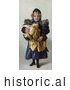 Historical Illustration of an Innocent Little Girl Holding Her Toy Doll by Al