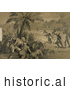 Historical Illustration of Christopher Columbus and His Crew Men Hiding Behind Bushes Under a Palm Tree and Watching Indigenous Native Men Playing What Appears to Be Baseball upon the First Landing in the New World at San Salvador by Al