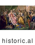 Historical Illustration of Christopher Columbus Kneeling in Front of Queen Isabella I and King Ferdinand V by Al