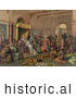 Historical Illustration of Christopher Columbus with Natives from the New World, Standing Proudly Before the King and Queen of Spain, King Ferdinand and Queen Isabella, at the Court of Barcelona, Spain in February of 1493 by JVPD