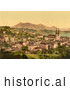 Historical Illustration of City of Lucerne and Rigi Mountain in Switzerland by Picsburg
