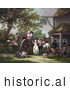 Historical Illustration of Horses, Pigs, and a Dog with People and a Cart in Front of a Tavern by JVPD