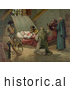 Historical Illustration of Men in Prayer, Standing Around Christopher Columbus at His Death 1506 by Al