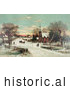 Historical Illustration of People Gathering at a Small Village Church on a Snowy Christmas Eve by Al