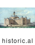 Historical Illustration of People on the Beach at New Alms House for the City of Boston in Massachusetts, on Deer Island by Al