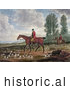 Historical Illustration of Two Men on Horseback, Fox Hunting with Dogs by JVPD