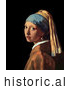 Historical Painting of a Girl with a Pearl Earring by Johannes Vermeer by Al