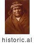 Historical Photo of Acoma Indian Man Wearing Headband 1904 - Sepia by JVPD