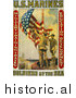 Historical Photo of Marines Raising the American Flag - Vintage Military War Poster 1913 by Picsburg