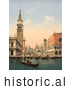 Historical Photochrom of a Bell Tower and Boats, Venice, Italy by Picsburg