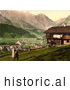 Historical Photochrom of a House at Engelberg Valley by Al