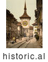Historical Photochrom of a Street Scene in Berne Switzerland by JVPD