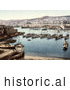 Historical Photochrom of Boats in the Harbor, Algiers, Algeria by JVPD