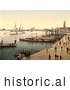 Historical Photochrom of Hohenzollern in Venice Harbor, Venice, Italy by Picsburg