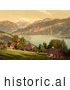 Historical Photochrom of Homes, Church, Lake Thun and Mountains, Switzerland by Al