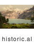 Historical Photochrom of Oeschinen Lake and Mountains in Switzerland by JVPD