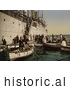 Historical Photochrom of Passengers Boarding off of a Ship, Algeria by JVPD
