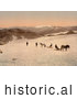 Historical Photochrom of People and Horses on Folgefond Glacier by JVPD